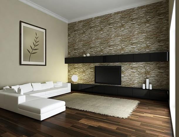 Das Bild zeigt ein modernes Zimmer mit einer Wandheizung an der Innenwand.